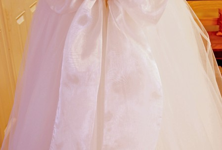 organza bow belt wedding gown jewel rhinestone needles and stitches