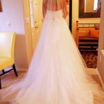 veil long train bow organza tulle lace wedding dress