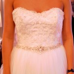 lace sweetheart neckline jewel rhinestones tulle princess ballgown skirt wedding gown