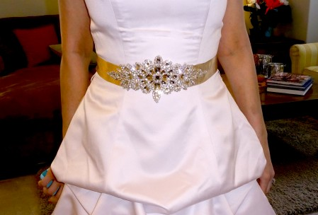satin crystal wedding gown belt