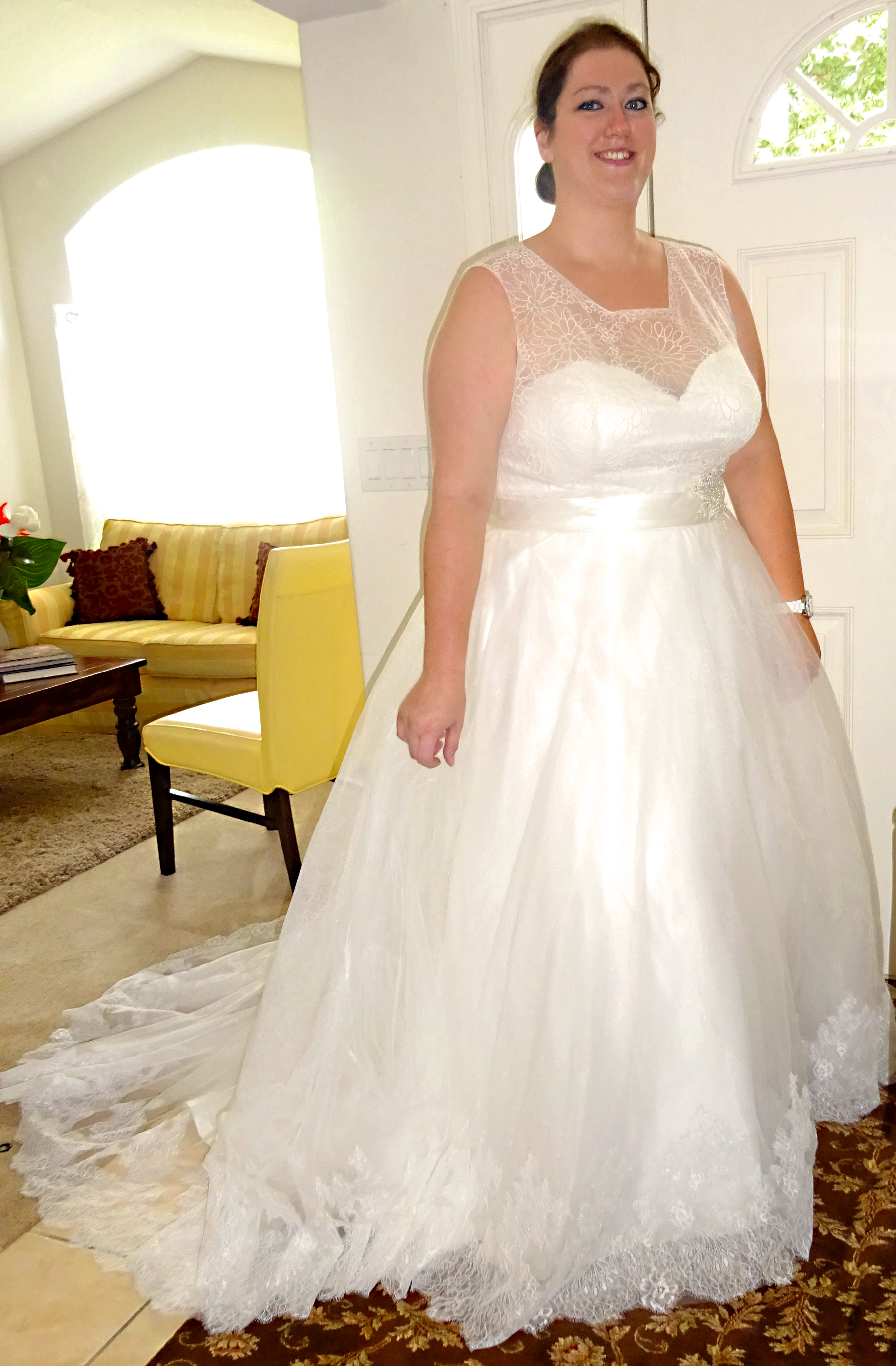 Jessica Foltz Wedding Dress Front Smiling - Needles and Stitches