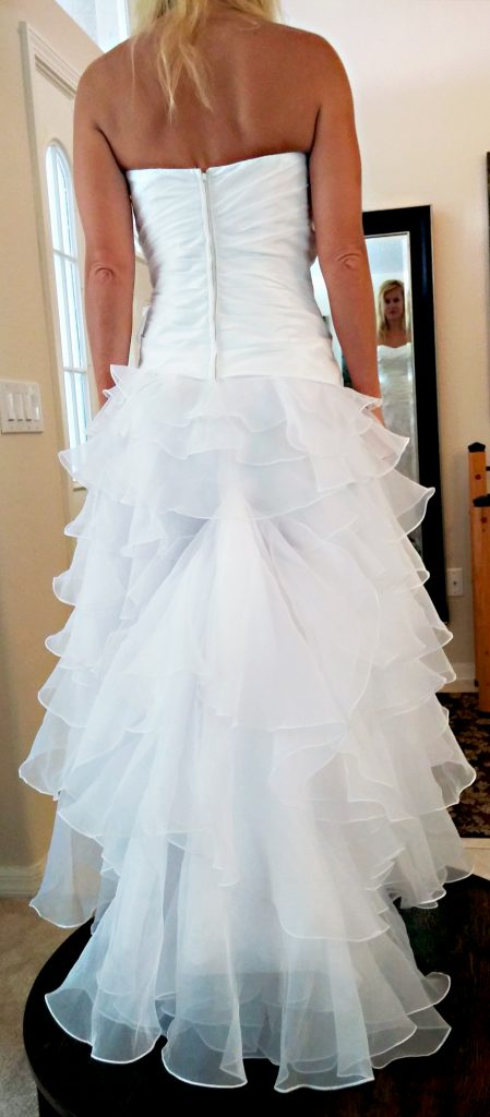 wedding dress scalloped layers bustled train american french bustle