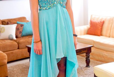 prom gown ruffle chiffon high low dress aqua teal rhinestones