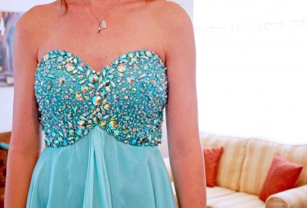 prom dress aqua blue green rhinestone sweetheart neckline