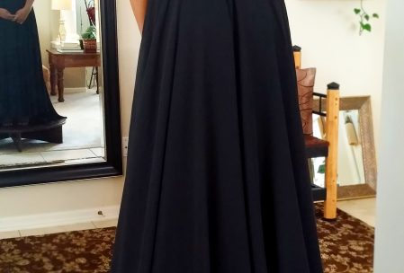 Black prom dress elegant classy rhinstones sweetheart neckline train