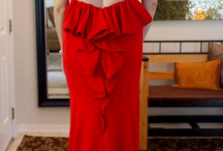 red formal dress back ruffle alterations